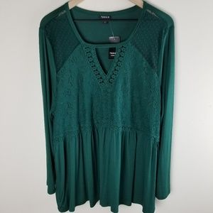 Torrid Green Lace Crochet Cutout Babydoll Top